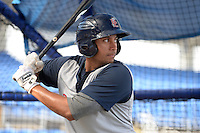 Brevard County Manatees catcher Rafael Neda (12) in the batting cage during practice before a game against the Dunedin Blue Jays on April 23, 2015 at Florida Auto Exchange Stadium in Dunedin, Florida.  Brevard County defeated Dunedin 10-6.  (Mike Janes/Four Seam Images)
