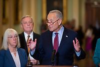 United States Senate Majority Leader Chuck Schumer (Democrat of New York) offers remarks following the Democratic Senate luncheon at the US Capitol in Washington, DC, Tuesday, July 20, 2021. Credit: Rod Lamkey / CNP /MediaPunch