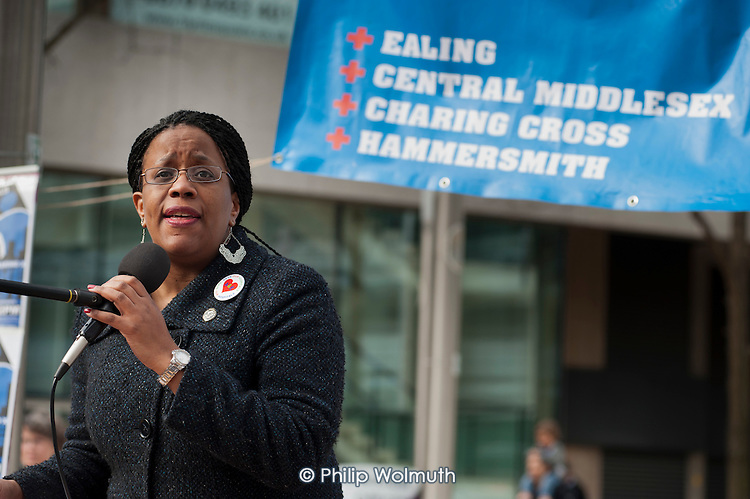 Donna Guthrie, of Black Activists Rising Against Cuts (BARAC)., addresses a rally of residents and health workers called to protest at proposed closures of A&E departments at Hammersmith and Charing Cross hospitals.