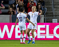 HOUSTON, TX - FEBRUARY 03: Lindsey Horan #9 and Christen Press #20 of the USA celebrate a goal during a game between Costa Rica and USWNT at BBVA Stadium on February 03, 2020 in Houston, Texas.