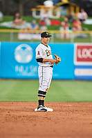 David Fletcher (15) of the Salt Lake Bees on defense against the Fresno Grizzlies at Smith's Ballpark on September 3, 2017 in Salt Lake City, Utah. The Bees defeated the Grizzlies 10-8. (Stephen Smith/Four Seam Images)