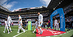 Referees and players of Real Madrid and Levante UD walk to the pitch prior the La Liga match between Real Madrid and Levante UD at the Estadio Santiago Bernabeu on 09 September 2017 in Madrid, Spain. Photo by Diego Gonzalez / Power Sport Images