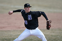 March 22nd 2009:  Closing pitcher Adam Wagner (25) of the Niagara University Purple Eagles during a game at Sal Maglie Stadium in Niagara Falls, NY.  Photo by:  Mike Janes/Four Seam Images
