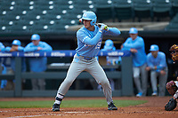 Michael Busch (15) of the North Carolina Tar Heels at bat against the Boston College Eagles in Game Five of the 2017 ACC Baseball Championship at Louisville Slugger Field on May 25, 2017 in Louisville, Kentucky. The Tar Heels defeated the Eagles 10-0 in a game called after 7 innings by the Mercy Rule. (Brian Westerholt/Four Seam Images)