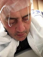 """COPY BY TOM BEDFORD<br /> Pictured: David Evans receiving treatment in hospital<br /> Re: Chef Kamrul Islam who attacked a client with chilli powder is due to appear before Merthyr Tydfil Magistrates Court.<br /> David Evans was at the Prince of Bengal restaurant on Saturday night when the incident took place.<br /> The 46-year-old was out for dinner with his wife Michelle when they were asked by a waiter if they were enjoying their curry.<br /> The couple said they told the waiter their meal was """"tough and rubbery"""" and he passed the complaint onto the head chef.<br /> Michelle said chilli powder was then thrown into her husband's eyes and he was taken to hospital."""