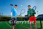 Enjoying being back at the Tennis Club on Monday, front right: Adam Kavanagh and Malcolm Willis