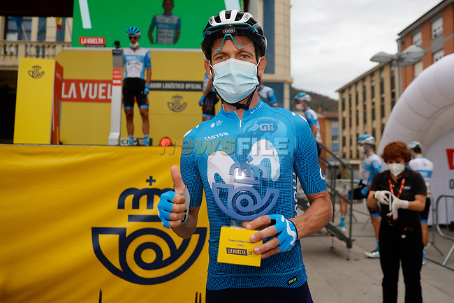 Jose J. Rojas (ESP) Movistar Team leading team from yesterday's stage at sign on before the start of Stage 12 of the Vuelta Espana 2020 running 109.4km from Pola de Laviana to Alto de l'Angliru, Spain. 1st November 2020..    <br /> Picture: Luis Angel Gomez/PhotoSportGomez | Cyclefile<br /> <br /> All photos usage must carry mandatory copyright credit (© Cyclefile | Luis Angel Gomez/PhotoSportGomez)