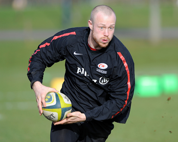 20130131 Copyright onEdition 2013©.Free for editorial use image, please credit: onEdition..James Short during the Saracens Captains Run at Old Albanians Rugby Club, St Albans on Thursday 31st January 2013 (Photo by Rob Munro)..For press contacts contact: Sam Feasey at brandRapport on M: +44 (0)7717 757114 E: SFeasey@brand-rapport.com..If you require a higher resolution image or you have any other onEdition photographic enquiries, please contact onEdition on 0845 900 2 900 or email info@onEdition.com.This image is copyright onEdition 2013©..This image has been supplied by onEdition and must be credited onEdition. The author is asserting his full Moral rights in relation to the publication of this image. Rights for onward transmission of any image or file is not granted or implied. Changing or deleting Copyright information is illegal as specified in the Copyright, Design and Patents Act 1988. If you are in any way unsure of your right to publish this image please contact onEdition on 0845 900 2 900 or email info@onEdition.com