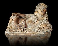 Etruscan Hellenistic style cinerary, funreary, urn  cover,  National Archaeological Museum Florence, Italy , black background