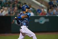 Ogden Raptors second baseman Jeremy Arocho (8) follows through on his swing during a Pioneer League game against the Billings Mustangs at Lindquist Field on August 17, 2018 in Ogden, Utah. The Billings Mustangs defeated the Ogden Raptors by a score of 6-3. (Zachary Lucy/Four Seam Images)