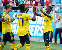 CHARLOTTE, NC - JULY 20: Eddie Nketiah #30 celebrates his goal with Bukayo Saka #77 in a game between Arsenal and Fiorentina during a game between ACF Fiorentina and Arsenal at Bank of America Stadium on July 20, 2019 in Charlotte, North Carolina.