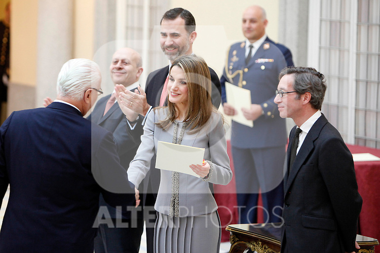 Manolo Blahnik, Prince Felipe of Spain and Princess Letizia of Spain attend the National Awards of Culture 2011 and 2012 at Palacio de El Pardo. February 19, 2013. (ALTERPHOTOS/Caro Marin)