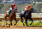 July 10, 2020: Rayray with Abel Cedillo (left) defeats Midnight Mystery to win a maiden race at Del Mar Race Track in Del Mar, California on July 10, 2020. The legendary racetrack dubbed Where The Surf Meets The Turf is facing a temporary suspension of racing after 15 jockeys tested positive for coronavirus this week. Alex Evers/Eclipse Sportswire/CSM