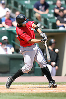 May 13, 2009:  Catcher Miguel Perez of the Indianapolis Indians, International League Class-AAA affiliate of the Pittsburgh Pirates, at bat during a game at Frontier Field in Rochester, FL.  Photo by:  Mike Janes/Four Seam Images