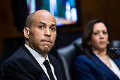"United States Senator Cory Booker (Democrat of New Jersey), and US Senator Kamala Harris (Democrat of California), are seen during the US Senate Judiciary Committee hearing titled ""Examining Best Practices for Incarceration and Detention During COVID-19,"" in Dirksen Building in Washington, D.C. on Tuesday, June 2, 2020.<br /> Credit: Tom Williams / Pool via CNP"