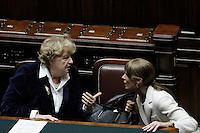Il Ministro dell'Interno Anna Maria Cancellieri e Anna Maria Bernini.Roma 25/01/2012 Voto alla Camera dei Deputati per la mozione unitaria sulla politica europea dell'Italia.Foto Insidefoto Serena Cremaschi