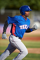 Texas Rangers minor league outfielder Jamie Jarmon #7 during an instructional league game against a Korean All-Star team at the Surprise Stadium Complex on October 13, 2012 in Surprise, Arizona.  (Mike Janes/Four Seam Images)