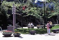 Vancouver: Park. Plaza on sunny morning, 666 Burrard.  Photo '86.