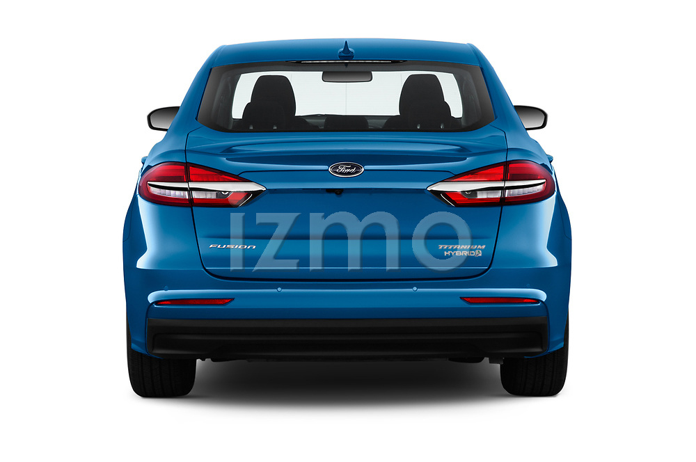 Straight rear view of a 2019 Ford Fusion-Hybrid Titanium  4 Door Sedan stock images