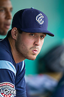 Corpus Christi Hooks pitcher Mark Appel (36) in the dugout during the Texas League baseball game against the San Antonio Missions on May 10, 2015 at Nelson Wolff Stadium in San Antonio, Texas. The Missions defeated the Hooks 6-5. (Andrew Woolley/Four Seam Images)
