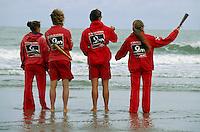 Belgien, Flandern, Rettungsschwimmer am Strand in Blankenberg