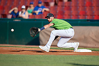 Kane County Cougars first baseman Zachery Almond (9) stretches for a throw during a Midwest League game against the Dayton Dragons on July 20, 2019 at Northwestern Medicine Field in Geneva, Illinois.  Dayton defeated Kane County 1-0.  (Mike Janes/Four Seam Images)