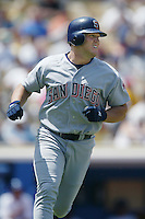 Sean Burroughs of the San Diego Padres runs the bases during a 2002 MLB season game against the Los Angeles Dodgers at Dodger Stadium, in Los Angeles, California. (Larry Goren/Four Seam Images)