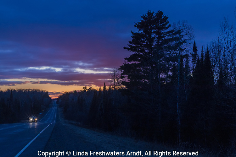Sunset on Highway 77 (the Continental Divide) in northern Wisconsin.