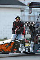 Sep 5, 2020; Clermont, Indiana, United States; NHRA top fuel driver Joey Haas during qualifying for the US Nationals at Lucas Oil Raceway. Mandatory Credit: Mark J. Rebilas-USA TODAY Sports