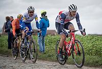Omloop-winner the day before, Jasper Stuyven (BEL/Trek-Segafredo) preceding today eventual winner Kasper Asgreen (DEN/Deceuninck - QuickStep) up the Oude Kwaremont<br /> <br /> 72nd Kuurne-Brussel-Kuurne 2020 (1.Pro)<br /> Kuurne to Kuurne (BEL): 201km<br /> <br /> ©kramon