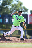 Luis Castillo (19) of the Hillsboro Hops pitches against the Spokane Indians at Ron Tonkin Field on July 23, 2017 in Hillsboro, Oregon. Spokane defeated Hillsboro, 5-3. (Larry Goren/Four Seam Images)