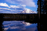 Unusual but real clouds over Mount Adams and Takhalakh Lake Campground in Washington State