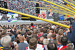 Fans pack the track and pit lanes before the NASCAR Sprint Cup Series AAA 500 race at Texas Motor Speedway in Fort Worth,Texas.