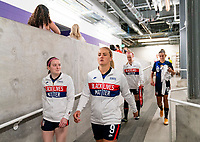 ORLANDO, FL - FEBRUARY 21: Rose Lavelle #15 and Lindsey Horan #9 of the USWNT leave the locker room before a game between Brazil and USWNT at Exploria Stadium on February 21, 2021 in Orlando, Florida.