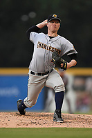 Starting pitcher Nick Nelson (26) of the Charleston RiverDogs delivers a pitch in a game against the Greenville Drive on Friday, July 28, 2017, at Fluor Field at the West End in Greenville, South Carolina. Charleston won, 6-1. (Tom Priddy/Four Seam Images)