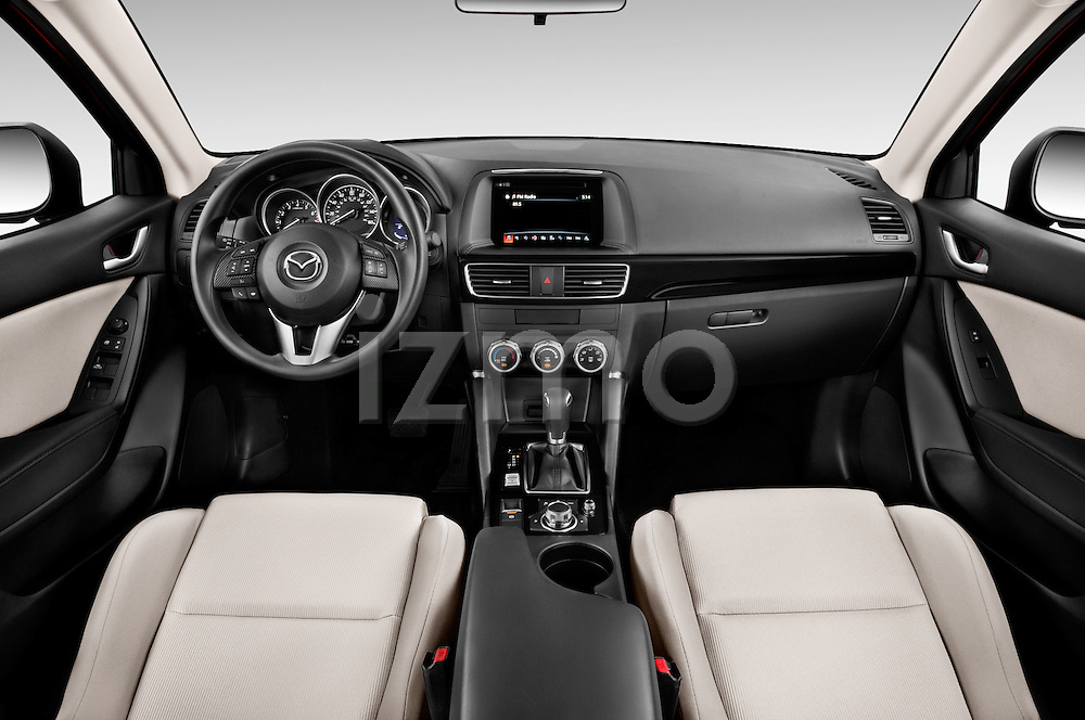 Stock photo of straight dashboard view of2016 Mazda CX5 Premium Edition 5 Door SUV Dashboard