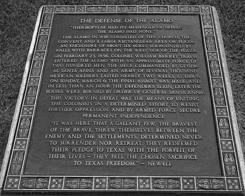IN DEFENSE OF THE ALAMO plaque at San Antonio, Texas.