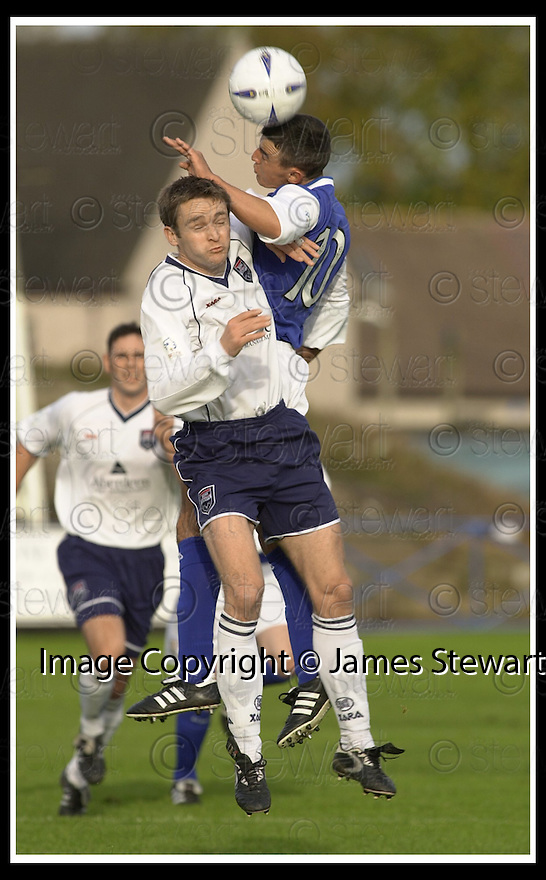 26/10/02       Collect Pic : James Stewart                     .File Name : stewart-qots v ross county 07.COUNTY'S PAUL DEAS AND DEREK LYLE CHALLENGE FOR THE BALL..........James Stewart Photo Agency, 19 Carronlea Drive, Falkirk. FK2 8DN      Vat Reg No. 607 6932 25.Office : +44 (0)1324 570906     .Mobile : + 44 (0)7721 416997.Fax     :  +44 (0)1324 570906.E-mail : jim@jspa.co.uk.If you require further information then contact Jim Stewart on any of the numbers above.........