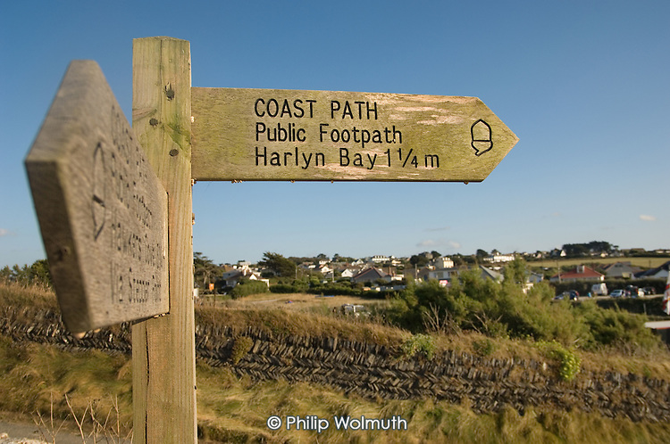 Coast path sign to Harlyn Bay, near the village of Trevone in North Cornwall.