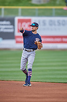 Jack Reinheimer (7) of the Tacoma Rainiers during the game against the Salt Lake Bees at Smith's Ballpark on May 16, 2021 in Salt Lake City, Utah. The Bees defeated the Rainiers 8-7. (Stephen Smith/Four Seam Images)