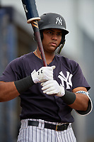 New York Yankees Dermis Garcia (32) during a Minor League Spring Training game against the Atlanta Braves on March 12, 2019 at New York Yankees Minor League Complex in Tampa, Florida.  (Mike Janes/Four Seam Images)