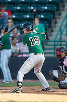 Brandon Bednar (19) of the Augusta GreenJackets at bat against the Hickory Crawdads at L.P. Frans Stadium on May 11, 2014 in Hickory, North Carolina.  The GreenJackets defeated the Crawdads 9-4.  (Brian Westerholt/Four Seam Images)