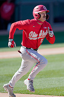 Catcher Brent Todys (12) of the Ohio State Buckeyes in a game against the Illinois Fighting Illini on Friday, March 5, 2021, at Fluor Field at the West End in Greenville, South Carolina. (Tom Priddy/Four Seam Images)