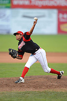 Batavia Muckdogs pitcher Miguel Del Pozo (47) during a game against the Tri-City ValleyCats on July 13, 2013 at Dwyer Stadium in Batavia, New York.  Tri-City defeated Batavia 5-4.  (Mike Janes/Four Seam Images)