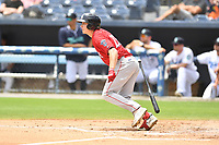 Greenville Drive Tyler Esplin (25) runs to first base during a game against the Asheville Tourists on July 18, 2021 at McCormick Field in Asheville, NC. (Tony Farlow/Four Seam Images)