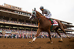 DEL MAR,CA-AUGUST 20: California Chrome #1,ridden by Victor Espinoza,wins the TVG Pacific Classic at Del Mar Race Track on August 20,2016 in Del Mar,California (Photo by Kaz Ishida/Eclipse Sportswire/Getty Images)