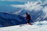 A skiier at Snowbird Ski Resort. Utah.
