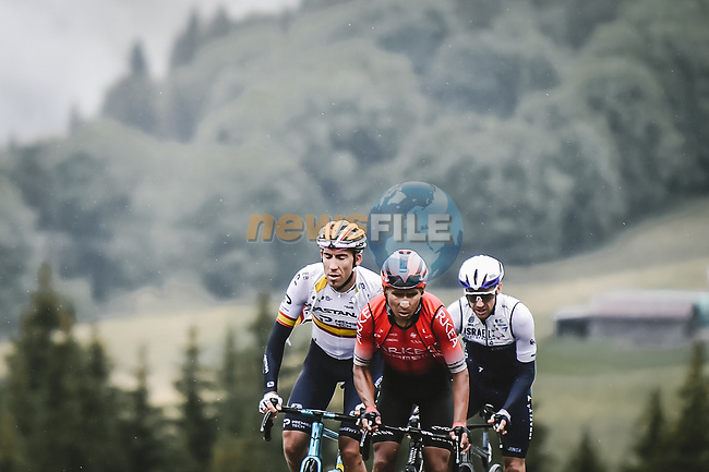 Nairo Quintana (COL) Team Arkea-Samsic, Spanish Champion Omar Fraile (ESP) Astana Premier Tech and Michael Woods (CAN) Israel Start-Up Nation attack on the Col des Saisies during Stage 9 of the 2021 Tour de France, running 150.8km from Cluses to Tignes, France. 4th July 2021.  <br /> Picture: A.S.O./Pauline Ballet | Cyclefile<br /> <br /> All photos usage must carry mandatory copyright credit (© Cyclefile | A.S.O./Pauline Ballet)