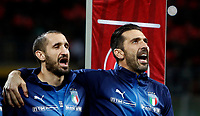 Soccer Football - 2018 World Cup Qualifications - Europe - Italy vs Sweden - San Siro, Milan, Italy - November 13, 2017<br /> Italy's Giorgio Chiellini (l) and captain Gianluigi Buffon (r) line up before the match between Italy and Sweden at the San Siro Satdium in Milan on November 13, 2017.<br /> UPDATE IMAGES PRESS/Isabella Bonotto