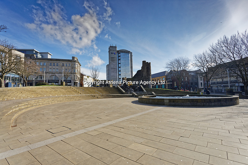 Pictured: Castle Square empty of people in the centre of Swansea, south Wales, UK. Friday 20 March 2020<br /> Re: Covid-19 Coronavirus pandemic, UK.